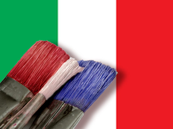 Red, white, blue brushes with Italian Flag